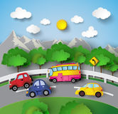 Car on Road curve Stock Image