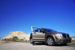 Car  at road in desert Royalty Free Stock Photos