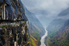 Car on road in Himalayas Stock Photography