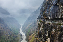 Car on road in Himalayas Royalty Free Stock Photo