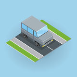 Car on Road Illustration in Isometric Projection. Royalty Free Stock Photo