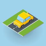 Car on Road Illustration in Isometric Projection. Car on road vector illustration in isometric projection. Jeep, minivan picture for transport, traffic, city Stock Photography