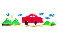 Car on the Road Kid Drawing. Kid drawing depicting a car on the road with landscape at background vector illustration