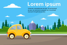 Car Road Landscape Mountain Flat Vector Royalty Free Stock Image
