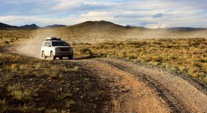 Car on road in the Mongolia Stock Photos