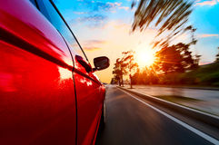 Car on road with motion blur background Stock Photo