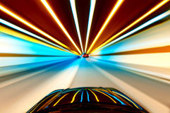 Car on road with motion blur background. Royalty Free Stock Images