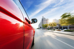 Car on the road. With motion blur background Royalty Free Stock Images