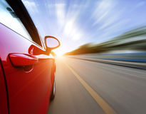 Car on the road. With motion blur background stock images