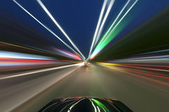 Car on road with motion blur background. Royalty Free Stock Photography