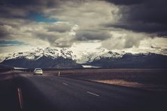 Car on a road in a national park. Beautiful road in a national park Stock Photography