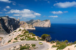 Car on road near cape Formentor Royalty Free Stock Image