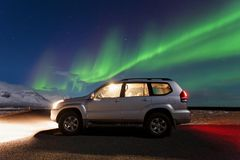 Beautiful panoramic Aurora Borealis or better known as The Northern Lights for background view in Iceland, Jokulsarlon royalty free stock images