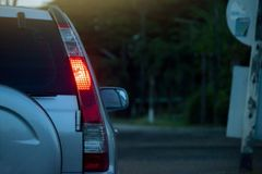 Car on the road. On night drive on the road for trip to travel or business stock photography