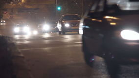 Car road night light. Driving a car on the overpass turning. Evening-night stock footage