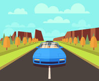 Car on road with outdoor landscape. Vector flat travelling concept background Stock Photography