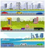 Car road over skyscrapers Royalty Free Stock Image