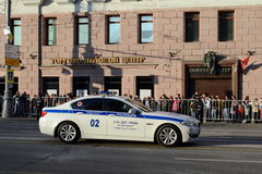 Car Road police on Tverskaya Street in Moscow Stock Images