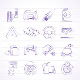 Car and road services icons. Vector icon set Royalty Free Stock Photo