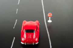 Car and road sign Royalty Free Stock Images