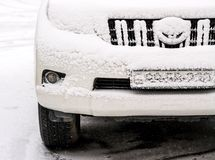 Car in snow winter day Royalty Free Stock Photos