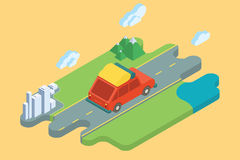 Car Road Summer Vacation. Flat Isometric Art. Royalty Free Stock Image