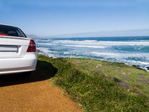 Car on the road to the Cape of Good Hope. Car on a scenic route to the Cape of Good Hope, South Africa Royalty Free Stock Images