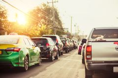 Car on the road traffic jam between long weeked and holiday in thailand royalty free stock photo