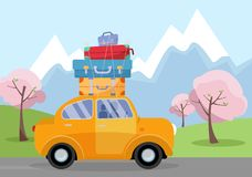 Car on Road Trip. Travel vehicle Concept Tourism and Vacation Together. illustration of spring vacations holiday, blooming trees, stock illustration
