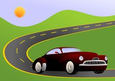 Car on road. Vector illustration of muscle car on the road Stock Photography