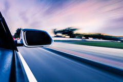 Car on the road whit motion blur background Royalty Free Stock Photos