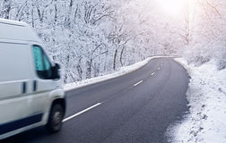 Car on road in winter Royalty Free Stock Photography