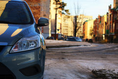 Car on the road in winter Royalty Free Stock Photo