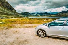 Car On Roadside,  Norwegian Mountain Landscape Royalty Free Stock Image