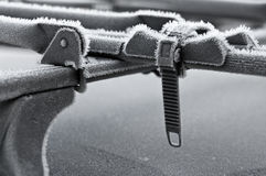 Car roof bike stand in winter stock images