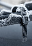 Car roof bike stand in winter Royalty Free Stock Photos
