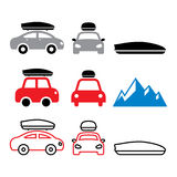 Car roof box, roof rack or carrier  icons set Stock Image