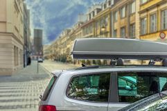 Car with roof luggage box container for travel Royalty Free Stock Images