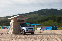 Car with roof tent Royalty Free Stock Images