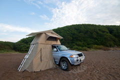 Car with rooftop tent on it Stock Image