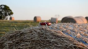 Car on a round straw bale stock video
