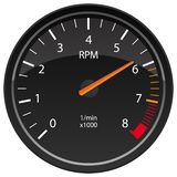 RPM Tachometer Automotive Dashboard Gauge Vector Illustration. Car RPM Tachometer dashboard gauge indicator, cool glass reflection adds a nice touch, sharp stock illustration