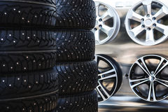 Car rubber tire close up Royalty Free Stock Photography