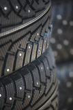 Car rubber tire close up Royalty Free Stock Photos