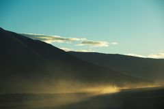 Car running in depopulated zone. Took in Qinghai-Tibet Plateau. Car running in depopulated zone Stock Photography