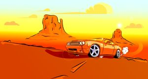 Orange car rushing down the road. The car rushes along the road on the hot desert sand against the rocks vector illustration