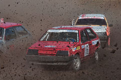 The car rushes the ground. Car Race for survival on the Bizon Track Show, Rostov-on-Don Royalty Free Stock Photography