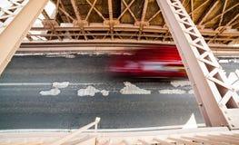 Car rushing over Brooklyn Bridge Royalty Free Stock Photo