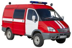 The car of Russia`s rescue service. The car of the Russian rescue service is red. Isolated on white royalty free stock images