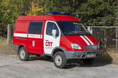 The car of Russia`s rescue service. Surgut, Russia. 09/21/2018. The car of the Russian rescue service is red royalty free stock photography